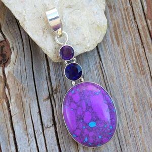 Vintage 925 Purple Turquoise & Amethyst Pendant